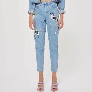 Topshop Moto Bleach Blue Mom Love Me Jeans 28 NWT